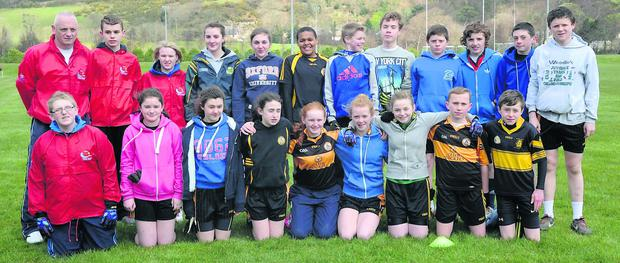Austin Stacks team with 4 visually impaired members who participated in the Campabilities GAA Football Blitz at Fossa GAA Grounds, Fossa, Killarney on Thursday. Photo: Michelle Cooper Galvin.