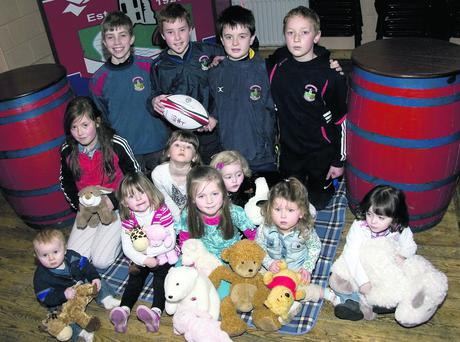 Some young rugby club members turned up on Sunday to flag the club's 'Teddy Bear's Picnic' and the national school disco at the club as part of the May bank holiday festivities. Photo: John Reidy