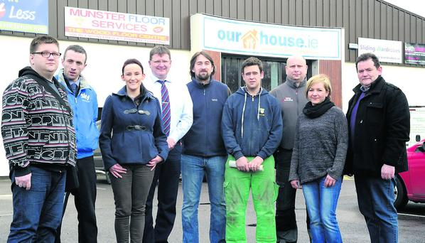 Pat Brosnan of Broman Tiles 4 Less, Fintan O'Carroll of Munster Floor Services, John Tobin Home Imporvement Services Portas, Lezek Zuchowski of Sliding Wardrobes, Isabel Krupa of Flesk Glass and Jim Leahy of Rilox Ireland from Our House.ie National Selfbuild, Extend and Renovate Centre, Ballycasheen, KIllarney. Photo: Michelle Cooper Galvin.