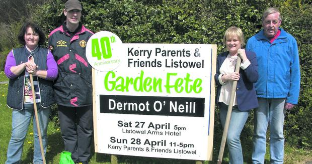 Making preparations for the visit by gardening expert Dermot O'Neill were: Lucy Trant; Mike Connaughton; Kathleen Horan, manager, Kerry Parents and Friends, centre; and Denis Horgan. Photo by John Reidy