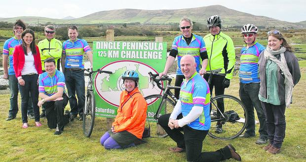 Members of Cumann Rothaíochta Chorca Dhuibhne launching the 125km Dingle Peninsula Cycle Challenge. Photo by Marian O'Flaherty