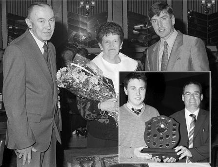 The late Jim Lyons (left) pictured on the occasion of his retirement function at Ballygarry House Hotel on April 14-1990 with his wife Sheila and Castleisland Community College teacher Jack Nolan who made presentations of behalf of his colleagues. Inset: St. Patrick's College principal, Denis O'Donovan presenting the Jim Lyons Languages Award to Joseph Healy at the college student awards ceremony at the River Island Hotel recently. Photos by John Reidy