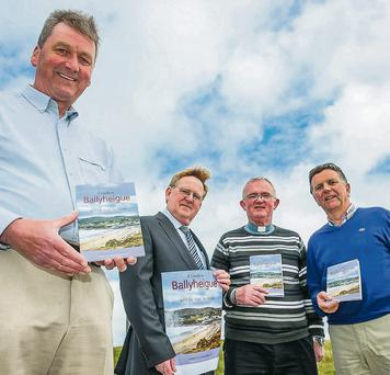 Author Bryan Mac Mahon with members of the Ballyheigue History and Heritage Group, Micheal O hAllmhurain, Fr Tom Leane and Brendan Moriarty. Photo: Paul Tearle