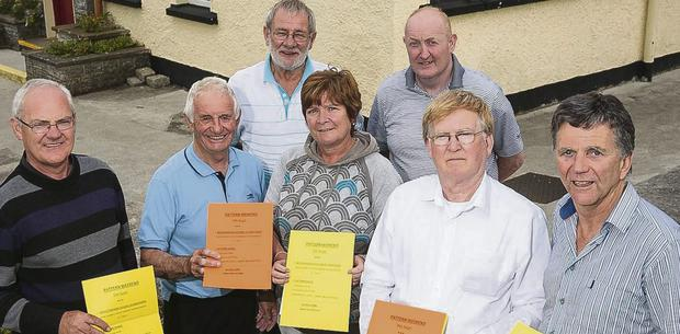 John Lucid, Tom Lawlor, Michael O'Halloran, Mary Duggan, Brendan Moriarty, Joe O'Sullivan and Liam O'Mahony launching details of the Bouleenshere, Ballyheigue pattern weekend on September 7.