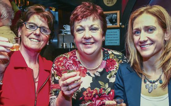 Cathy O'Carroll, Barbara Whelan and Helen Burns enjoying the Bailys Corner Whiskey tasting event on Friday. Photo: Paul Tearle