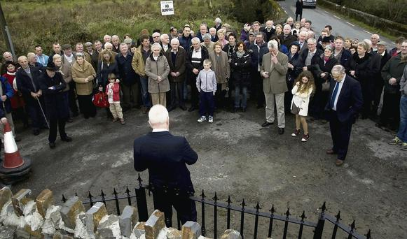 A section of the large gathering at the unveiling of the Civil War monument in Knocknagoshel on Sunday afternoon listening to the speech being delivered by Jimmy Deenihan, TD Minister for Arts, Heritage and the Gaeltacht.