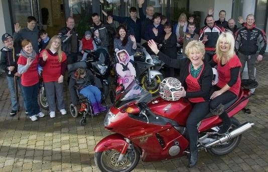 Principal Bridie Murphy and her passenger, Michelle Halpin, at the annual Nano Nagle School Poker Run in Listowel last year.