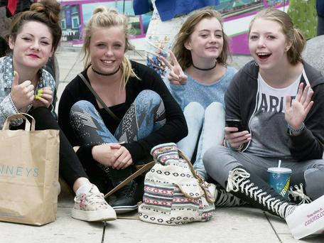Holly Hennessy, Caitlin Cotter, Breffni O'Hanlon and Niamh Redmond at Tralee Town Square, where they enjoyed the show put on for the Entente Florale judges