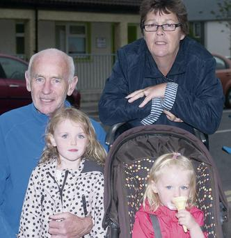 Patrick and Patricia Cleary from Tralee with their grandchildren Emily and Kara Fealy from Kilflynn enjoying the Boherbee Street Party. Photo: Eye Focus