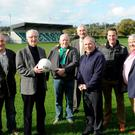 John Joe Sheehan (second from left) one of just two surviving members from Legion's County Championship winning team of 1946, pictured with John Hegarty, Jimmy Reen Club Chairman, Jerome Regan, Weeshie Fogarty, Enda Walshe and at the Legion GAA Grounds, Killarney