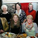 'Tralee Art Group' held their annual dinner at the 'Stonehouse' restaurant, The Square, Tralee, on Saturday night. L to R sitting Helen and Adrian Everson, Sandra Kearney, Katriona O'Sullivan, and Vera Power, back left Phil Hussey, Tima O'Shea, Christa Vonhoff, and Breda Flynn. Photo: John Cleary.
