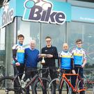 Members of the Tralee Manor West iBike Bicycle Club at the launch of the 2016 Lacey Cup at iBike Killarney. (L-R) Cathal Moynihan, Martin Lacey (Club Chairman), Peter White, Michael Mannix (Club President) and Patrick White