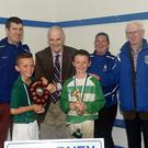 Pat Delaney, Chairman Killarney Credit Union, (third from left) presenting the Under 10 shield to Kerryonians Under 10 team captain Matthew Moynihan with Toirbhealbhadh O'Lionard, Callum Cronin, U10 Player of the tournament, Mary McCarrick and Don O'Donoghue, at the Killarney Credit Union Killarney Athletic 7-A-Side finals in Woodlawn, Killarney on Saturday. Photo by Michelle Cooper Galvin
