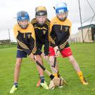Jack and Conor Costello and Sam Griffin in serious training at the Abbeydorney Cúl Hurling Camp on Tuesday