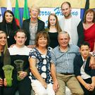The Boyle family from Ballyduff, Kerry Hurling sport Stars 2016 pictured after the presentations at McElligotts Hall Abbeydorney, on Saturday night. Sitting left Gillian Lucid, Padraig, Helen, Liam, Evan, and Mikey Boyle, back left Daniel O'Carroll, Patricia Connolly, Angela O'Sullivan, Chloe and Liam Boyle, Kay O'Carroll, and Anthony O'Carroll. Photo: John Cleary