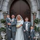Claire Naughton and Martin Enright who were married last Saturday at St Mary's Church Listowel, pictured with their sons, Jack, Thomas and Tadhg. Photo by Paper Hearts