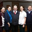Big welcome at Palliative Care Unit on Tuesday for The Chairman Kerry Hospice Foundation Ted Moynihan, Tralee, who was named Kerry Person of the year on Thursday night, January 12th, in Iveagh House Stephen's Green Dublin, by Lisa Duffy Chairperson of the Kerryman's Association Dublin. Ted got the award for his timeless work with the Kerry Hospice Foundation over the past 27 years. Ted is pictured with staff of Palliative Care Unit on his visit on Tuesday, left Daureen McMullen, Nurse Manager Mari O'Connell, Chairman Ted Moynihan, Brid O'Driscoll Therapist, and John Sheehy, Porter. Photo: John Cleary.