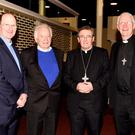 Bishop Billy Crean with Fr Padraig Walsh, Bishop Bill Murphy and Bishop Ray Browne at Bishop Crean's talk 'From what wells do we drink now' hosted by Diocese of Kerry at The Gleneagles, Killarney on Tuesday. Photo by Michelle Cooper Galvin