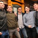 Seán O'Flaherty, Tommy B Brosnan, Breándán Kelliher, Brian O'Connell and David 'Diony' O'Connor at the Dingle GAA medal presentations in Paul Geaney's bar, Dingle, on Friday night. Photo by Declan Malone