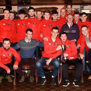 Glenbeigh Glencar team celebrate their All Ireland victory with a visit to the Red Fox on their way home to Glenbeigh on Monday night. Photo by Michelle Cooper Galvin