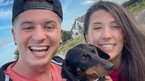 Tadhg Fleming and his now fiancée Alannah Bradley along with their puppy, Otie, who helped Tadhg in popping the question