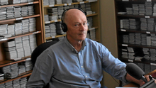 Historian Maurice O'Keeffe of Irish Life and Lore compiling another podcast at his studio