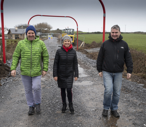 Fenit Development Association Chairman Mike O'Neill, Cathy Barry and John Moriarty from Fenit pictured walking part of the Tralee Fenit Greenway route in February, shortly before work was halted due to the Coronavirus outbreak. Photo by Domnick Walsh