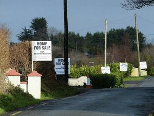For Sale signs outside homes in Finuge display local opposition to a planned wind farm development in the area.