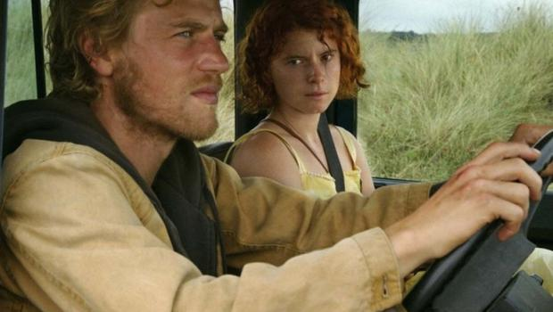 In a scene from her latest film, Jessie Buckley stars as 'Moll' alongside Johnny Flynn in the British made film 'Beast'