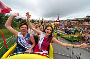 The Scotland Rose Bríd Madigan and the Philadelphia Rose Mairéad Comaskey having fun on the Roller coaster at Birds Amusements theme park at the Rose of Tralee International Festival. Photo by Domnick Walsh