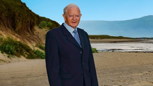 Jimmy Griffin on the sands of his coastal home, as he appears on the cover of the latest album from the Ballyheigue History and Heritage Group – Ballads from Bannaside