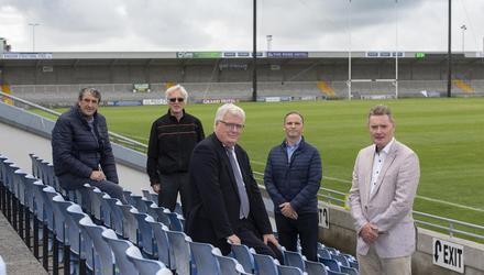 Members of the Austin Stack Park Development Committee at the announcement of the next phase of development at the Horan's end of the ground, which will commence in early 2022. In the background is 'the shed' that was completed as part of the first phase of development at the Mitchel's end of Austin Stack Park. Pictured is Rory Kilgannon, Aidan O'Connor, Liam Lynch, Eamon Whelan, and Tim Murphy, Chairman of Kerry County GAA Board. (Photo by Domnick Walsh).