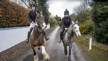 Ava Sugrue from Tralee on Fireball and Denis O'Connor from West Kerry on Misty at the hunt