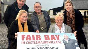Denise O'Donoghue, Marian Costello, Tommy Griffin, Michael Flynn and Cathy O'Donoghue at the launch of the Fair Day in Castlemaine village in memory of the late John O'Donoghue Kerry Hospice UHK on October 10 2021 in Griifin's Car Park, Castlemaine from 10am. Photo by Michelle Cooper Galvin