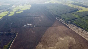 An aerial shot of damage caused by the bog fires at Tooreenagown, Brosna, over the weekend. Photos by Cieran Bran Murphy