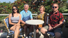Nicola Holly, pictured with her dad, Danny; her mom, Mary; and her brother, Darren, in Brisbane at Christmas 2019. This will be the first time since Christmas 2012 that Nicola will not have spent Christmas with her family
