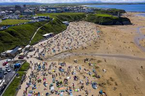 The Ladies Beach in the sun of early August. Staycationers flocked to Ballybunion from July, with caravan parks reporting bustling trade. But it was not enough to undercut the impact of the lockdown