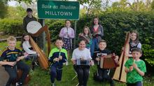 Pictured last June at last year's Fleadh in Milltown were (front row from left) Joe Horan, Sive Mannix (harp), Fionan Sexton, Louise Kimmage and John Sexton. (Back row) Daniel Mannix, Rebecca Howe, Cora Lee Howe and Katie Howe.