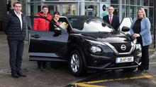 Colin House and Mary O'Connor, winners in the Killarney Credit Union Members Draw new Nissan Juke car, with David Randles, Director Randles Brothers Nissan Garage Tralee and Killarney, Mark Murphy CEO and Karena McCarthy Marketing Officer Killarney Credit Union at the Killarney Credit Union Members Draw in Killarney. Photo by Michelle Cooper Galvin