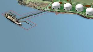 An artist's impression of the proposed Shannon LNG plant at Ballylongford.