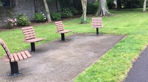 The new social distancing benches in the Town Park will become a lasting symbol of the pandemic era.