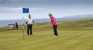 Tralee Golf Club re-open. All golf courses can be opened where social distancing can be maintained. Local golfers within 5km are all set for a round of golf: Vera Tierney, Lady Captain, Tralee Golf Club; and John O'Brien