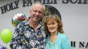 Retiring principal of Holy Family NS in Tralee, Ed O'Brien, pictured here with his wife, Yvonne. All photos by Domnick Walsh