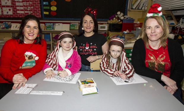 Coping well with the pre Muire Gan Smál Christmas Concert tension were from left: Elaine O'Donoghue, SNA; Paris Coffey, Maura Culhane, SNA; Ciara Downey and teacher and event spokesperson, Maura Browne. Photo by: John Reidy