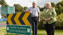 Cllr Marie Moloney and Killarney Mayor Brendan Cronin at the Cleeny Roundabout where they have asked for safety improvements. Photo by Michelle Cooper Galvin