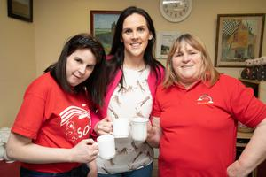 Enjoying their coffee at the Bud Family Resource in Ballyduff on Friday were Theresa Meehan, Elizabeth O'Grady and Vanessa Meehan