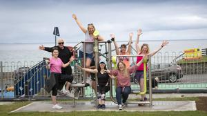 Laura Ryan, Jackie Nix, Therese Hunt, Lorraine Gavin, Annette Keyes, Alva Klein, Claire Brennan and Charlene Dillon living high at the new outdoor gym in Ballyheigue. Photos by Domnick Walsh