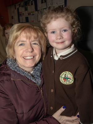 Hannah Hobbert pictured with her grandmother Joan Cunningham at Gaelscoil Mhic Easmainn's Grandparent's Day last Thursday. All photos by Joe Hanley