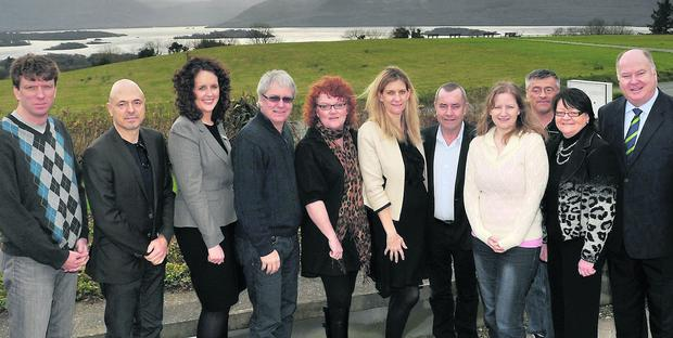 Representatives of leading Canadian business tourism companies at the Aghadoe Heights Hotel, Killarney, with Helen Cole, Tourism Ireland (fourth right); Emma Reardon (third left) and Trish Covarr (sixth left), both Aghadoe Heights Hotel; Maeve O'Connor (second right) and Gerry Nicholls (fifth right), both Ovation Ireland; and Andrew Roche, Iarnrod Eireann (right). Photo: Don MacMonagle