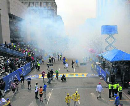 The horrific scenes that unfolded as bombs ripped through runners and spectators at the close of the Boston Marathon on Monday.